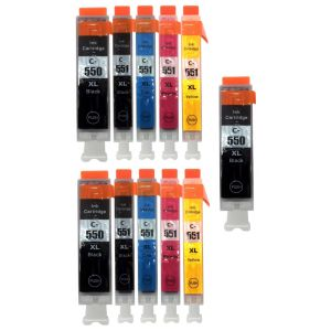 Cartridge 2 x Canon CLI-551 XL CMYK, PGI-550 XL + PGI-550 XL ZDARMA, multipack, alternativní